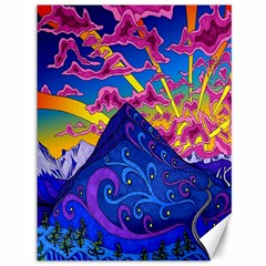 Psychedelic Colorful Lines Nature Mountain Trees Snowy Peak Moon Sun Rays Hill Road Artwork Stars Canvas 36  X 48