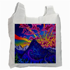 Psychedelic Colorful Lines Nature Mountain Trees Snowy Peak Moon Sun Rays Hill Road Artwork Stars Recycle Bag (two Side)  by Simbadda