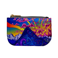 Psychedelic Colorful Lines Nature Mountain Trees Snowy Peak Moon Sun Rays Hill Road Artwork Stars Mini Coin Purses by Simbadda