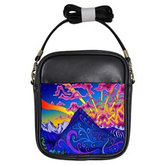 Psychedelic Colorful Lines Nature Mountain Trees Snowy Peak Moon Sun Rays Hill Road Artwork Stars Girls Sling Bags by Simbadda