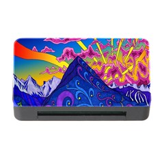 Psychedelic Colorful Lines Nature Mountain Trees Snowy Peak Moon Sun Rays Hill Road Artwork Stars Memory Card Reader With Cf by Simbadda