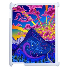 Psychedelic Colorful Lines Nature Mountain Trees Snowy Peak Moon Sun Rays Hill Road Artwork Stars Apple Ipad 2 Case (white) by Simbadda