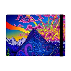 Psychedelic Colorful Lines Nature Mountain Trees Snowy Peak Moon Sun Rays Hill Road Artwork Stars Apple Ipad Mini Flip Case by Simbadda