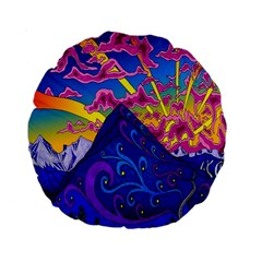 Psychedelic Colorful Lines Nature Mountain Trees Snowy Peak Moon Sun Rays Hill Road Artwork Stars Standard 15  Premium Round Cushions by Simbadda