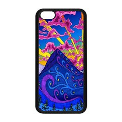 Psychedelic Colorful Lines Nature Mountain Trees Snowy Peak Moon Sun Rays Hill Road Artwork Stars Apple Iphone 5c Seamless Case (black) by Simbadda