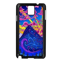 Psychedelic Colorful Lines Nature Mountain Trees Snowy Peak Moon Sun Rays Hill Road Artwork Stars Samsung Galaxy Note 3 N9005 Case (black) by Simbadda