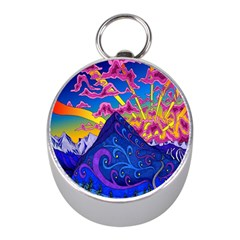 Psychedelic Colorful Lines Nature Mountain Trees Snowy Peak Moon Sun Rays Hill Road Artwork Stars Mini Silver Compasses by Simbadda