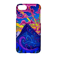 Psychedelic Colorful Lines Nature Mountain Trees Snowy Peak Moon Sun Rays Hill Road Artwork Stars Apple iPhone 7 Hardshell Case by Simbadda
