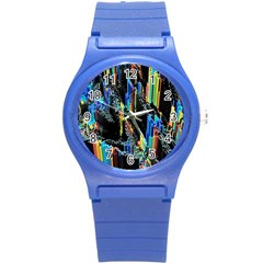 Abstract 3d Blender Colorful Round Plastic Sport Watch (s) by Simbadda