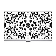Leaf Flower Floral Black Business Card Holders by Alisyart
