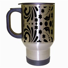 Leaf Flower Floral Black Travel Mug (silver Gray) by Alisyart