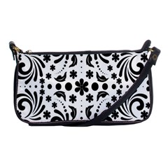Leaf Flower Floral Black Shoulder Clutch Bags by Alisyart