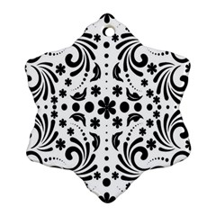 Leaf Flower Floral Black Ornament (snowflake) by Alisyart