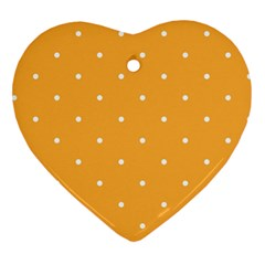 Mages Pinterest White Orange Polka Dots Crafting Heart Ornament (two Sides) by Alisyart