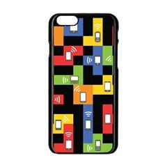 Mobile Phone Signal Color Rainbow Apple Iphone 6/6s Black Enamel Case by Alisyart