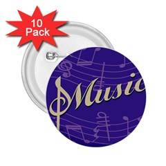 Music Flyer Purple Note Blue Tone 2 25  Buttons (10 Pack)  by Alisyart