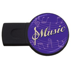 Music Flyer Purple Note Blue Tone Usb Flash Drive Round (2 Gb) by Alisyart