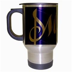 Music Flyer Purple Note Blue Tone Travel Mug (silver Gray) by Alisyart