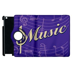 Music Flyer Purple Note Blue Tone Apple Ipad 2 Flip 360 Case by Alisyart