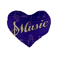 Music Flyer Purple Note Blue Tone Standard 16  Premium Heart Shape Cushions by Alisyart