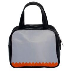 Orange Gray Scallop Wallpaper Wave Classic Handbags (2 Sides) by Alisyart