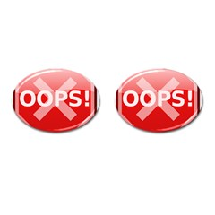 Oops Stop Sign Icon Cufflinks (oval) by Alisyart