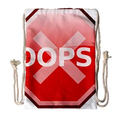 Oops Stop Sign Icon Drawstring Bag (large) by Alisyart