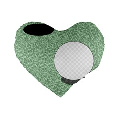 Golf Image Ball Hole Black Green Standard 16  Premium Flano Heart Shape Cushions by Alisyart