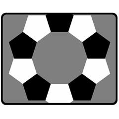 Pentagons Decagram Plain Black Gray White Triangle Double Sided Fleece Blanket (medium)  by Alisyart