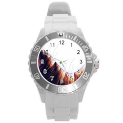 Abstract Lines Round Plastic Sport Watch (l) by Simbadda