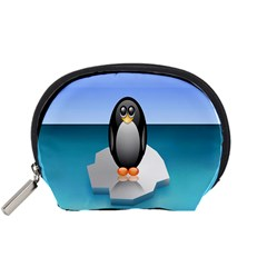 Penguin Ice Floe Minimalism Antarctic Sea Accessory Pouches (small)  by Alisyart
