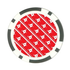 Panda Bear Face Line Red White Poker Chip Card Guard (10 Pack) by Alisyart