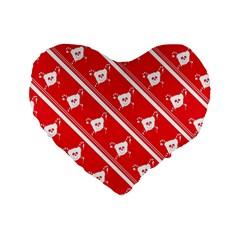Panda Bear Face Line Red White Standard 16  Premium Flano Heart Shape Cushions by Alisyart