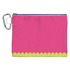 Pink Yellow Scallop Wallpaper Wave Canvas Cosmetic Bag (xxl) by Alisyart