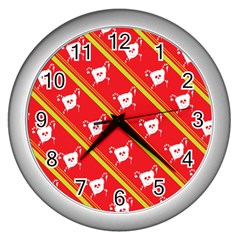 Panda Bear Face Line Red Yellow Wall Clocks (silver)  by Alisyart