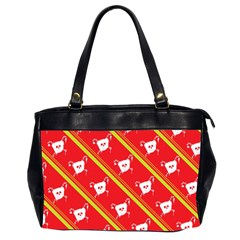 Panda Bear Face Line Red Yellow Office Handbags (2 Sides)  by Alisyart