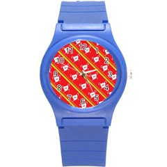 Panda Bear Face Line Red Yellow Round Plastic Sport Watch (s) by Alisyart