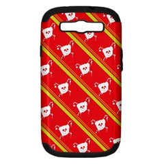Panda Bear Face Line Red Yellow Samsung Galaxy S Iii Hardshell Case (pc+silicone) by Alisyart