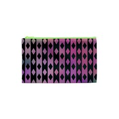 Old Version Plaid Triangle Chevron Wave Line Cplor  Purple Black Pink Cosmetic Bag (xs) by Alisyart