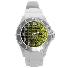 Pixel Gradient Pattern Round Plastic Sport Watch (l) by Simbadda