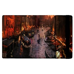 River Venice Gondolas Italy Artwork Painting Apple Ipad 2 Flip Case by Simbadda