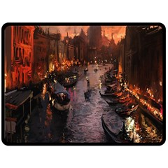 River Venice Gondolas Italy Artwork Painting Double Sided Fleece Blanket (large)  by Simbadda