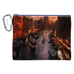 River Venice Gondolas Italy Artwork Painting Canvas Cosmetic Bag (xxl) by Simbadda