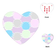 Pineapple Puffle Blue Pink Green Purple Playing Cards (heart)  by Alisyart