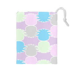 Pineapple Puffle Blue Pink Green Purple Drawstring Pouches (large)  by Alisyart