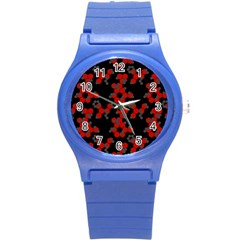 Red Digital Camo Wallpaper Red Camouflage Round Plastic Sport Watch (s) by Alisyart