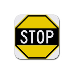 Road Sign Stop Rubber Coaster (square)  by Alisyart