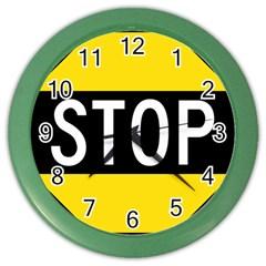 Road Sign Stop Color Wall Clocks by Alisyart