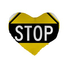 Road Sign Stop Standard 16  Premium Flano Heart Shape Cushions by Alisyart