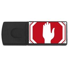 Road Sign Stop Hand Finger Usb Flash Drive Rectangular (4 Gb) by Alisyart